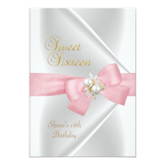 Sweet Sixteen Sweet 16 White Pearl Jewel Pink Bow Custom Invitations
