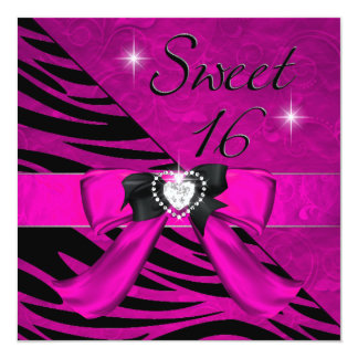 Sweet Sixteen Sweet 16 Zebra Hot Pink Black Card