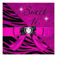 Sweet Sixteen Sweet 16 Zebra Hot Pink Black Personalized Invite