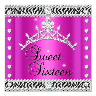 Sweet Sixteen Sweet 16 Zebra Hot Pink Black White 5.25x5.25 Square Paper Invitation Card