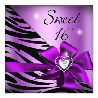 Sweet Sixteen Sweet 16 Zebra Purple Black Card