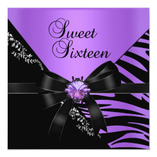 Sweet Sixteen Sweet 16 Zebra Purple Black Jewel Card