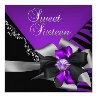 Sweet Sixteen Sweet 16 Zebra Purple Black Silver 5.25x5.25 Square Paper Invitation Card