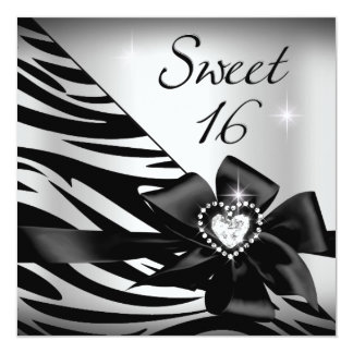 Sweet Sixteen Sweet 16 Zebra Silver Black Card