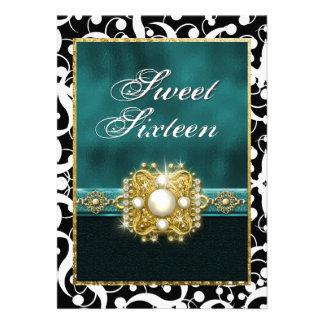 Sweet sixteen teal black elegant party custom announcements