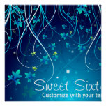 Sweet Sixteen Teal Blue Swirls Party Banner Posters