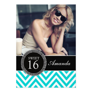 SWEET SIXTEEN TEAL ZIG ZAG CHEVRON PATTERN PERSONALIZED ANNOUNCEMENT