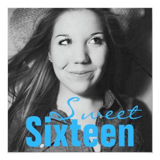 Sweet Sixteen Teen Birthday Party (Bright Blue) Card