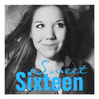Sweet Sixteen Teen Birthday Party (Bright Blue) Personalized Announcement