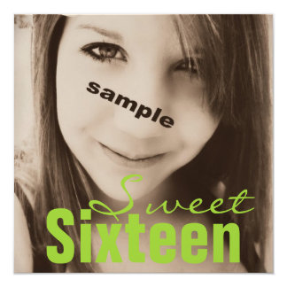 Sweet Sixteen Teen Birthday Party (Lime Green) Custom Invite