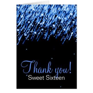 Sweet Sixteen Thank You Falling Stars Blue Card