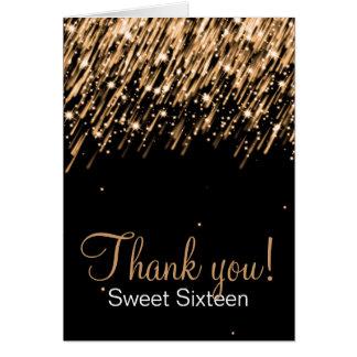 Sweet Sixteen Thank You Falling Stars Gold Card