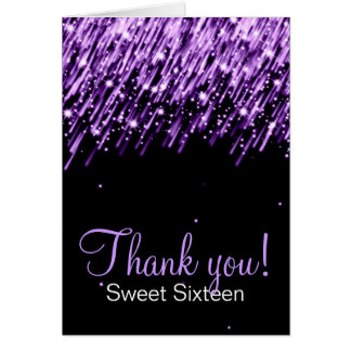 Sweet Sixteen Thank You Falling Stars Purple Card