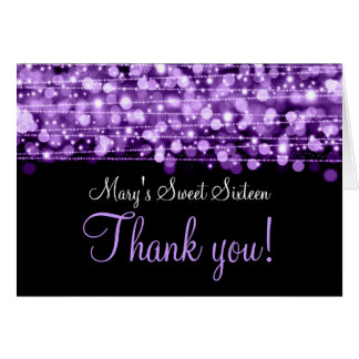 Sweet Sixteen Thank You Party Sparkles Purple Card