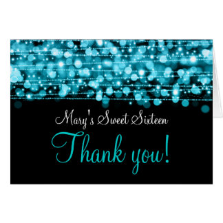 Sweet Sixteen Thank You Party Sparkles Turquoise Card