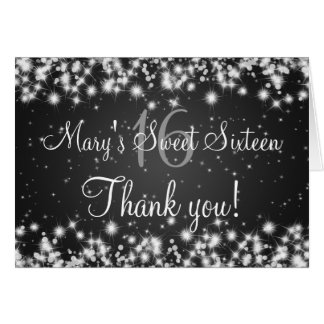 Sweet Sixteen Thank You Winter Sparkle Black Cards