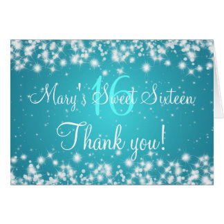 Sweet Sixteen Thank You Winter Sparkle Blue Greeting Card
