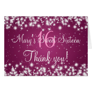 Sweet Sixteen Thank You Winter Sparkle Pink Greeting Card