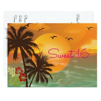 Sweet Sixteen, Tropical, Hawaiian Luau Invitation