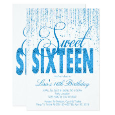 Sweet Sixteen, Turquoise Glitter Invitations