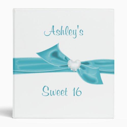 Sweet Sixteen Turquoise Satin Look Ribbon 3 Ring Binder