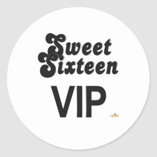 Sweet Sixteen VIP Black And Silver Round Stickers
