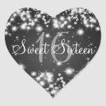 Sweet Sixteen Winter Sparkle Black Heart Stickers
