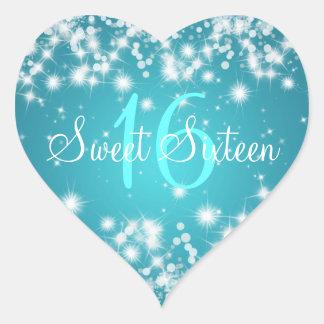 Sweet Sixteen Winter Sparkle Blue Heart Stickers
