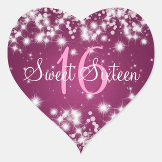 Sweet Sixteen Winter Sparkle Pink Heart Sticker