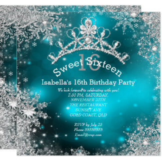 Sweet Sixteen Winter Wonderland Silver Teal Card