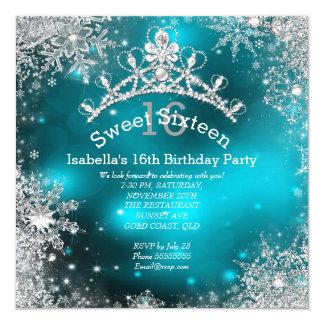 Sweet Sixteen Winter Wonderland Silver Teal Card