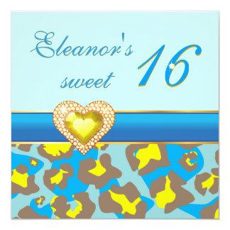 Sweet sixteen yellow blue leopard jewel heart personalized invite