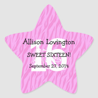 Sweet Sixteen Zebra Birthday Celebration Gift S01 Star Sticker
