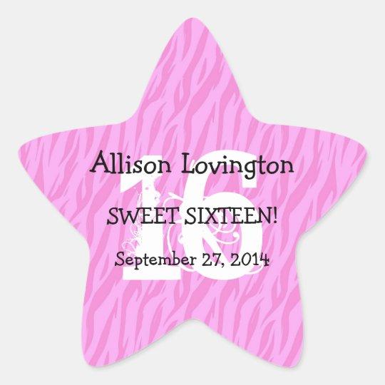 Sweet Sixteen Zebra Birthday Celebration Gift S01 Star Sticker