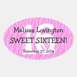 Sweet Sixteen Zebra Birthday Celebration Gift V012 Oval Sticker
