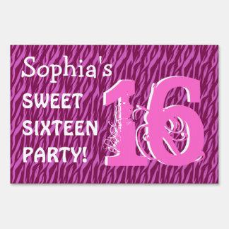 Sweet Sixteen Zebra Birthday Celebration V4 Lawn Sign
