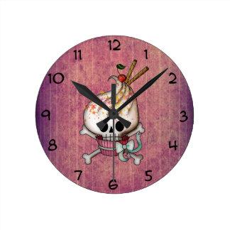 Sweet Skull Cupcake Round Clocks