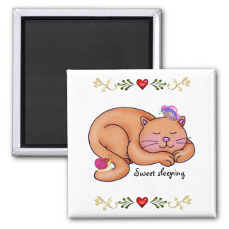 Sweet Sleeping Kitty 2 Inch Square Magnet