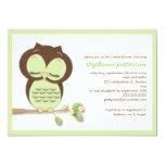 Sweet Sleepy Green Owl Neutral Baby Shower Custom Invites