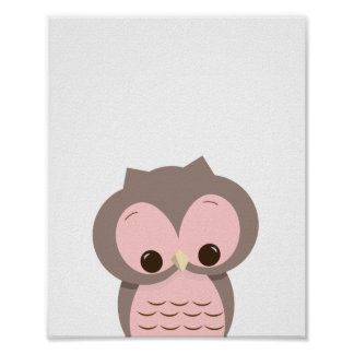 Sweet Sleepy Owl in Pink Nursery Wall Decor Poster