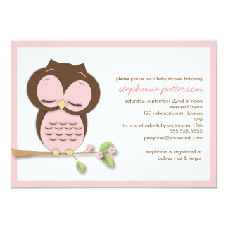 Sweet Sleepy Pink Owl Girl Baby Shower Invitation