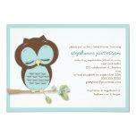 Sweet Sleepy Teal Owl Boy Baby Shower Invitation