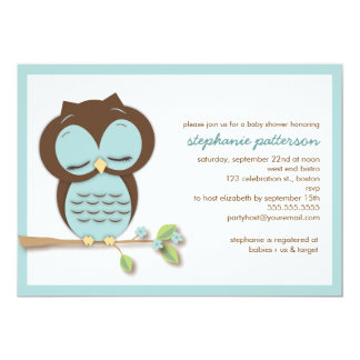 Sweet Sleepy Teal Owl Boy Baby Shower Invitation