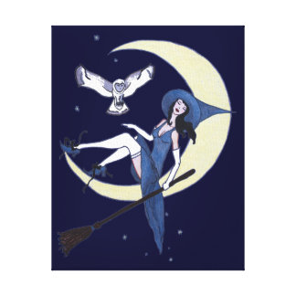 Sweet Slumber Witch and Owl Canvas Print