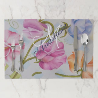 SWEET SMELLING SWEET PEAS MONOGRAM PARTY PAPER PLACEMAT