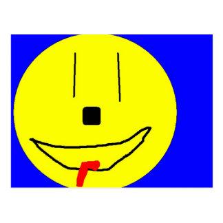 Sweet Smiley Emoji,  Yellow Blue, Art By Kids :) Postcard