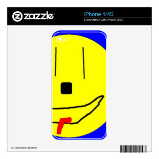 Sweet Smiley Emoji,  Yellow Blue, Art By Kids :) Skin For iPhone 4S