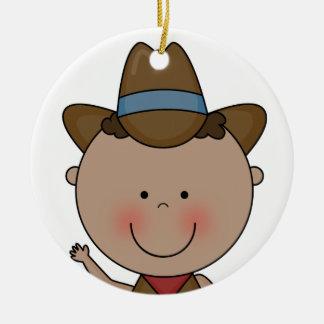 Sweet Smiling Baby Boy Western Cowboy Keepsake Double-Sided Ceramic Round Christmas Ornament