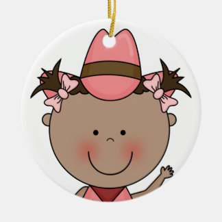 Sweet Smiling Baby Girl Western Cowgirl Keepsake Double-Sided Ceramic Round Christmas Ornament