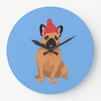 Sweet Smiling French Bulldog with Red Winter Hat Large Clock